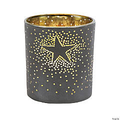 Navy Star Glass Votive Holders