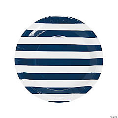 Navy Striped Paper Dinner Plates - 25 Ct.