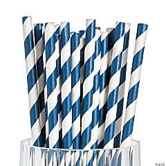 Navy Striped Paper Straws