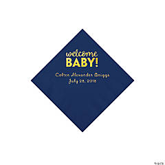 Navy Welcome Baby Personalized Napkins with Gold Foil - Beverage