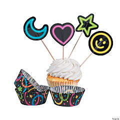 Neon Glow Party Cupcake Wrappers with Picks