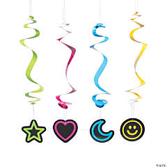 Neon Glow Party Hanging Swirl Decorations - 12 Pc.