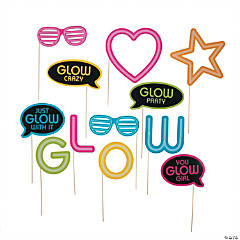 Neon Glow Party Photo Stick Props- 12 Pc.