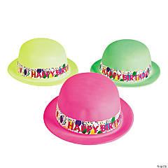 Neon Happy Birthday Derby Hats