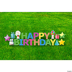 Neon Happy Birthday Letter & Icon Yard Signs