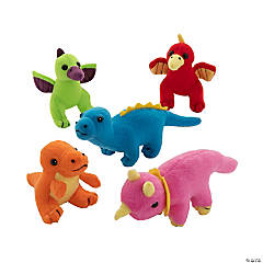 Neon Stuffed Dinosaurs