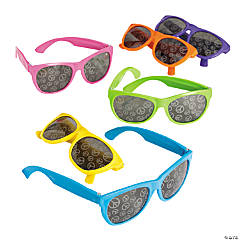 Neon Sunglasses with Peace Sign Mirror Lenses