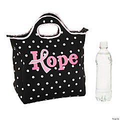Neoprene Pink Awareness Ribbon Hope Lunch Tote Bag