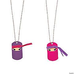 Ninja Girl Dog Tag Necklaces