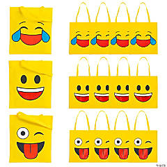 Nonwoven Polyester Large Emoji Tote Bags