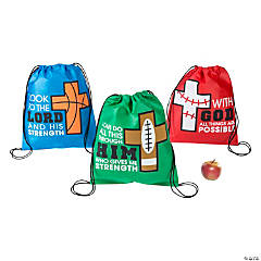 Nonwoven Polyester Sports VBS God's Team Drawstring Bags