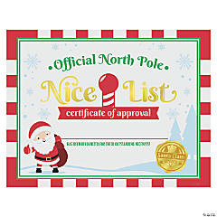 North Pole Nice List Certificates