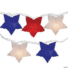 Northlight 10-Count Red and Blue Fourth of July Star String Light Set  7.25' White Wire