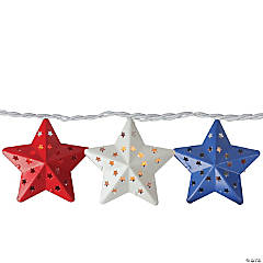 Northlight 10-Count Red and Blue Fourth of July Star String Light Set  7.25ft White Wire