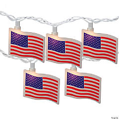 Northlight 10-Count Red and Blue Patriotic American Flag 4th of July Lights  7.5ft White Wire