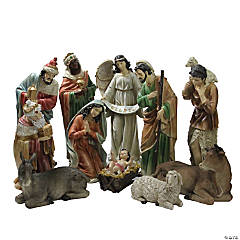 Northlight - 11-Piece Brown and Ivory Large Tranquil Religious Christmas Nativity Set 22.75