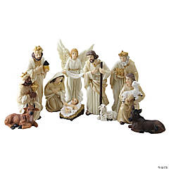 Northlight - 11-Piece Glittered Ivory and Cream Christmas Nativity Figure Set