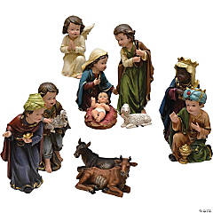 Northlight - 11-Piece Green and Blue Inspirational Religious Children Christmas Nativity Figurine Set 7.75