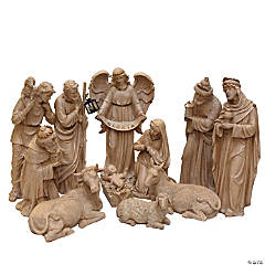 Northlight - 11-Piece Speckled Brown Traditional Religious Christmas Nativity Set 22.75