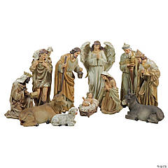 Northlight - 11-Piece Traditional Earth Tones Religious Christmas Nativity Figurine Set - 12