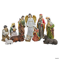 Northlight - 11pc Green and White Religious Christmas Nativity Figurines with Removable Baby Jesus 19.5