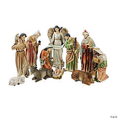 Northlight - 11pc Vibrantly Colored Traditional Religious Christmas Nativity Figurine Set 15.5