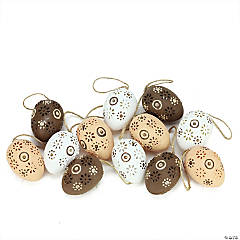 Northlight 12ct Brown and White Floral Cut-Out Easter Egg Ornaments 2.25
