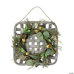 Northlight 16 Autumn Harvest Green Hop and Cattail Grapevine Wreath in a Wooden Tray Hanger