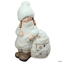 Northlight - 17.25 White Tealight Snowman with Standing Girl Christmas Candle Holder