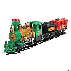 Northlight - 19-Piece Green and Red Battery Operated Christmas Express Train Set