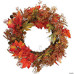 Northlight 24-Inch Autumn Harvest Maple Leaf with Berries Artificial Wreath; Unlit