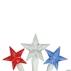Northlight 30-Count Red and Blue LED Patriotic Star Fourth of July String Light Set  7ft White Wire