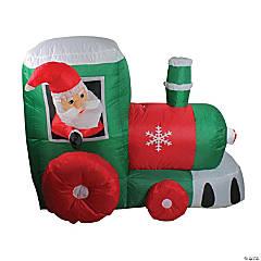 Northlight - 4.5' Inflatable Santa on Locomotive Train Lighted Outdoor Christmas Decoration