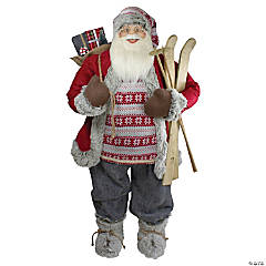 Northlight - 4' Standing Santa Christmas Figure with Skis and Fur Boots