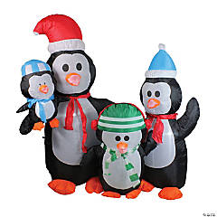 Northlight - 5' Lighted Black and Orange Inflatable Penguin Family Christmas Yard Art Decor