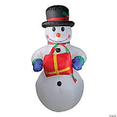 Northlight - 5' Pre-Lit White and Red Inflatable Lighted Snowman Outdoor Christmas Decor