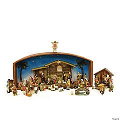 Northlight - 52-Piece Brown Religious Christmas Nativity Village Set with Holy Family 31.5