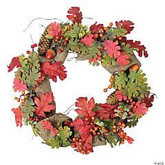 Northlight Autumn Harvest Acorn Berry and Burlap Rustic Thanksgiving Wreath  18-Inch