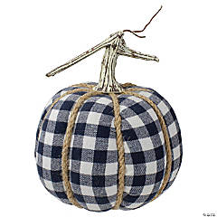 Northlight Dark Blue and White Plaid Fall Harvest Tabletop Pumpkin