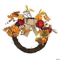 Northlight Fall Leaf with Mum Flower Artificial Thanksgiving Twig Wreath  Orange 20-Inch
