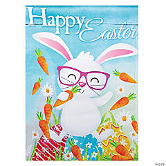 Northlight Happy Easter Bunny with Carrots Outdoor Garden Flag 12.5