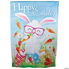 Northlight Happy Easter Bunny with Carrots Outdoor House Flag 28