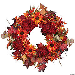 Northlight Leaves and Flowers Fall Harvest Wreath - 24-Inch  Unlit