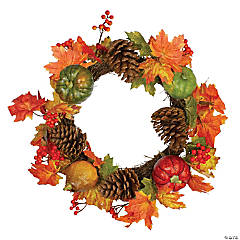 Northlight Leaves  Pine Cones and Pumpkins Artificial Fall Harvest Wreath - 20-Inch  Unlit