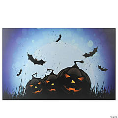 Northlight LED Lighted Jack-O-Lanterns and Bats Halloween Canvas Wall Art 23.5