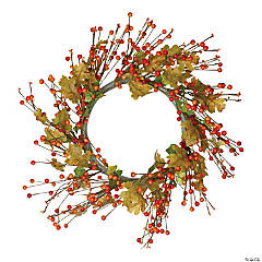Northlight Orange Berries and Yellow Leaves Fall Harvest Artificial Wreath  22