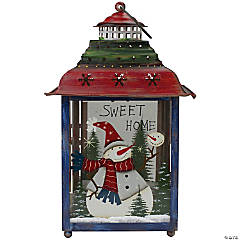 """Northlight - Red  Green and Blue Snowman Christmas Candle Lantern 15"""""""