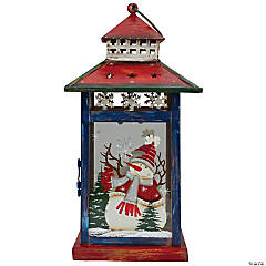 """Northlight - Red  White and Black Snowman """"Let It Snow"""" Christmas Lantern 12.75"""""""