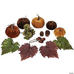 Northlight Set of 10 Pumpkin  Pine Cone  Berry and Leaves Thanksgiving Decor Set
