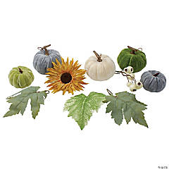 Northlight Set of 10 Pumpkins  Berries  Flowers and Leaves Thanksgiving Decor Set